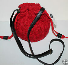 Gap Kids Girls Red Cable Knit Drawstring Purse Bag w/ Crossbody Shoulder Strap