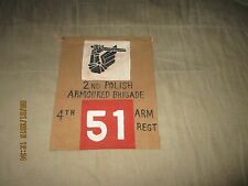 WWII 2ND POLISH AMOURED BRIGADE 4TH ARM TANK /TRUCK COMMAND POST   PENNET FLAG
