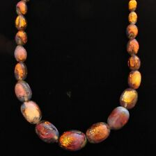 VINTAGE ART DECO CZECH CZECHOSLOVAKIA AMBER FOIL ART GLASS BEAD NECKLACE