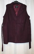 NEW WOMENS PLUS SIZE 4X BURGUNDY FAUX WOOL BELTED SLEEVELESS VEST COAT JACKET