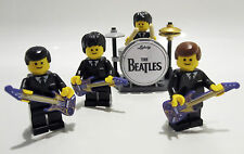 THE BEATLES MINIFIGURES personalizzato LEGO Band con DRUM KIT & chitarre FANTASTICA IDEA REGALO!