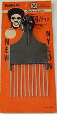 Vintage Nylon/Steel Clenched Fist Black Afro Pick Comb Made In The USA