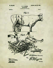 Cattle Dairy Farmer Cow Patent Poster Art Print Milking Machine Supplies PAT160