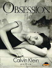 PUBLICITE ADVERTISING 065  1997  CALVIN KLEIN  parfum OBSESSION KATE MOSS