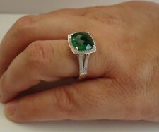 925 STERLING SILVER LADIES RING W/ 6 CT LAB DIAMOND& EMERALD  /SIZE 5 TO 9