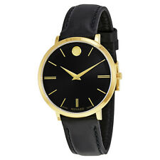 Movado Ultra Slim Black Sunray Dial Ladies Black Leather Watch 0607091