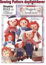 "Raggedy Ann Andy Doll & Clothes 3 Size 15"" 26"" 36"" A Sewing Pattern 8043 New"