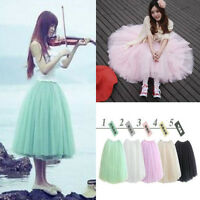 Women Summer 5 Layers Tulle Tutu Circle A Line Flare Gauze Ballet Fairy Skirt