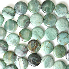 "16mm green dragon blood jasper coin beads 16"" strand"