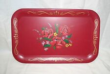 Vintage Red Floral Metal Tin Coaster Serving Snack Tray 14 x 9