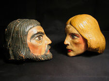 Two antique large doll heads man and woman made in the Czech Republic puppets