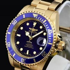 INVICTA 8930 PRO DIVER AUTOMATIC GOLD PLATED BLUE STAINLESS STEEL WATCH BNIB