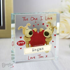 Boofle Shared Heart Personalised Crystal Token, Valentines Day, Anniversary Gift