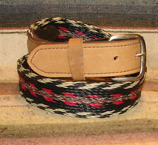 Vintage Black White Red Gray Woven Horsehair / Leather Western Belt Size 32 New