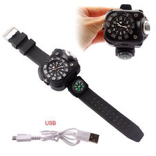 Military Tactical Rechargeable LED Sporting Wrist Watch Flashlight with Compass