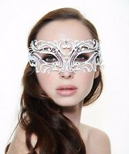 Gorgeous White Metal Venetian Masquerade Mask with Clear Stones BC002WH