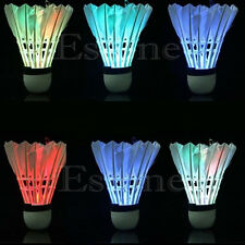 4pcs Dark Night Colorful LED Badminton Shuttlecock Birdies Lighting Feather New