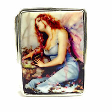 ENAMEL ANTIQUE STYLE EROTIC FAIRY PILL BOX FINE SOLID SILVER HALLMARKED
