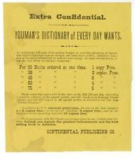 c1880 Youman's Dictionary of Every Day Wants Continental Publishing small flyer