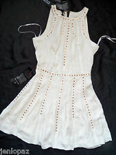 NWT Bebe ivory white Genuine Leather & Silk gold studded flare top dress S small