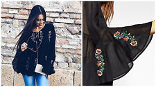 BNWT ZARA BLACK FLORAL EMBROIDERED TOP SIZE M