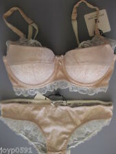 Pleasure State FIONA GRACE 12A /34A Balconnet Bra MED Brief Rose Smoke Rrp $105
