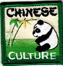 """CHINESE CULTURE"" PATCH w/PANDA BEAR - Iron On Embroidered Applique Patch/Words"