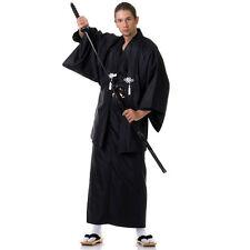 Japan Herren Samurai Kimono + Obi + Haori Yukata Morgenmantel Baumwolle Schwarz