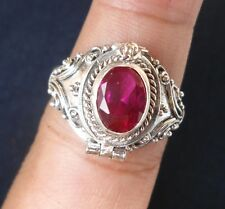 925 Sterling Silver-PRM10-Bali Carved Poison/Wish Locket Ring & Ruby Size 8