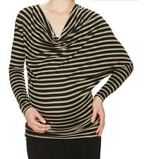Kami Maternity Draped Assymetric Top Black Taupe Size M MSRP $77