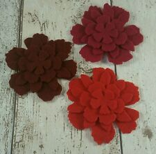 12 pcs shades of Red Flowers die cut in felt for applique, layering, cards,tutus