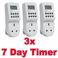 3 x PC   7 Day Digital LCD Electronic Plug-in Program 12/24 Hour Timer Switch
