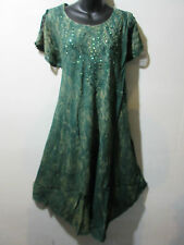 Dress Fits XL 1X 2X 3X 4X Plus Tunic Green with Gold Wash Lace Sleeves NWT G517