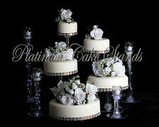 5 TIER CASCADE WEDDING CAKE STAND W/ 4 VOTIVE SET (STYLE #114)