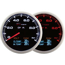 DEPO racing 60mm 4 in 1 Smoked Oil Pressure Volt Oil Temp&Water Temp Gauge LED
