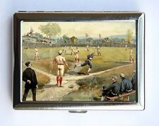 Vintage Baseball Game illustration Cigarette Case Wallet Business Card Holder
