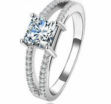 VVS1 Diamond Engagement Ring 1 Carat Square Cut 14kGP White Gold Bridal Jewelry