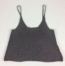 BDG Urban Outfitters Crop Top Sz Small Gray Ribbed Knit Spaghetti Straps Cotton