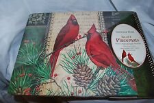 SHEFFIELD HOME CORK BACKED CARDINAL CHRISTMAS HARD PLACEMATS SET OF 4 NEW