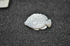 Antique Hand Carved Mother of Pearl Shell tropical fish with diamond eye pin