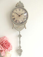 NEW Chic Shabby Pale Grey Pendulum Wall Clock French Paris Antique Vintage 38cm