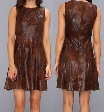 Vince Camuto Brown Wash Distressed Faux Leather Fit & Flare Dress - MSRP $148