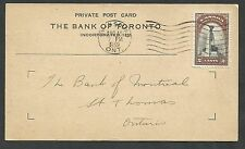 1939 Owen Sound GRY Bank of Toronto Private post card.  2c National Memorial Roy