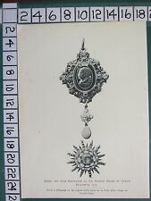 1891 SPINK MEDALS PRINT ~ JEWEL & STAR SIR FRANCIS DRAKE (1575) QUEEN ELIZABETH