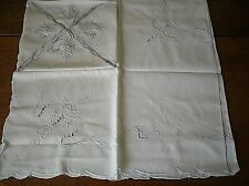 Vtg Embroidery Cutwork Luncheon Table Cloth Napkin Set - 32 x 32