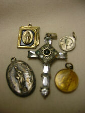 Vintage Religious Medals & Cross Charm Ornate Rhinestones St. Jude Mary