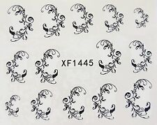Nail Art Black Filigree Swirls Lace Leaves Water Transfer Decal Sticker 1445