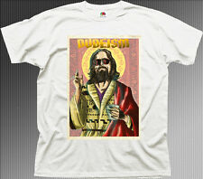 The DUDE Dudeism Religion Big Lebowski ABIDE funny white cotton t-shirt 9901