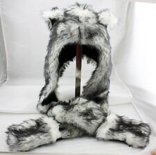 Wolf Animal Hood Hoodie Hat Faux Fur 3 in 1 Function White Fuzzy Ear LONG Flap