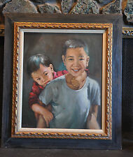 C. K. HAR - OIL PAINTING YOUNG CHINESE BOY WITH FATHER